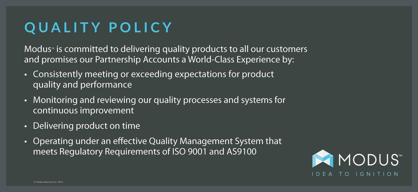 Modus Advanced Quality Policy