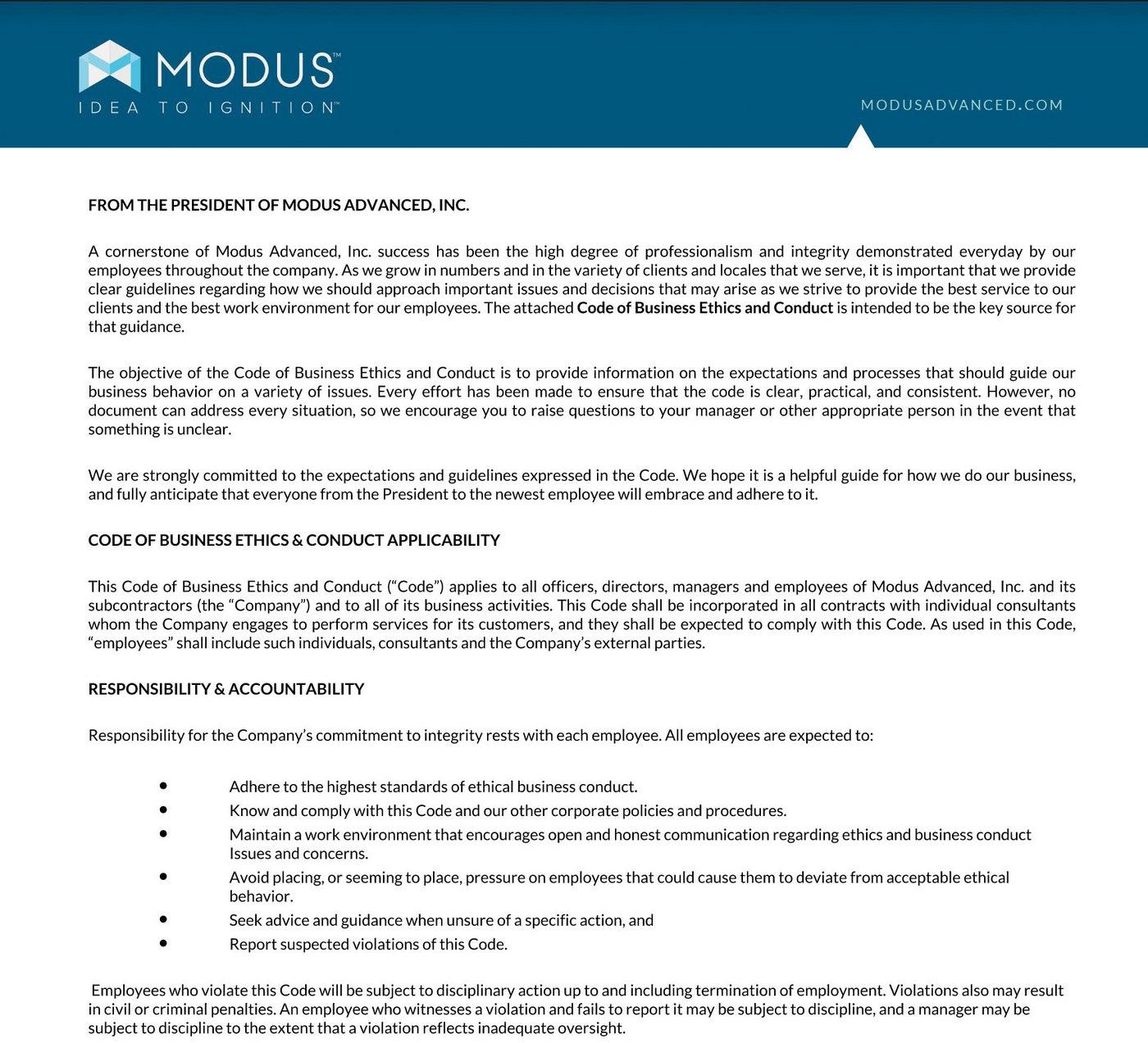 Modus Advanced, Inc. Ethics Policy